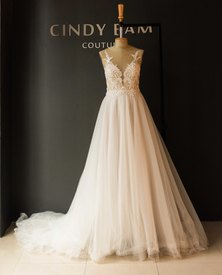 Cindy Bam Nude Illusion Lace Wedding Gown