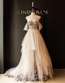 Cindy Bam Soft Dusty Grey Corset Wedding Gown