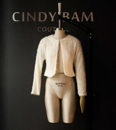 Cindy Bam Soft Fluffy Formal Jacket Light Ivory