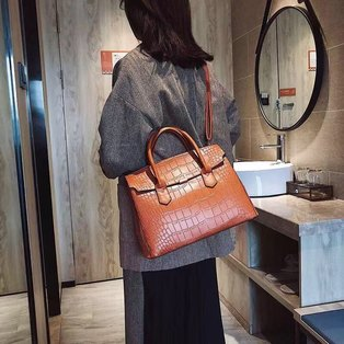LaMara Paris Empire croc embossed handbag tan