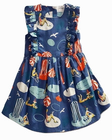 Starlight Kids Girls Beach Print Cotton Dress Blue