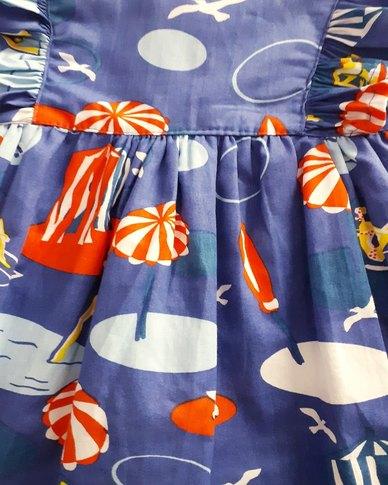 Starlight Kids Girls Beach Print Cotton Dress Blue