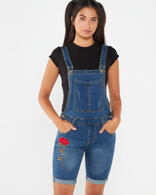 Utopia Denim Dungaree With Applique Medium Wash