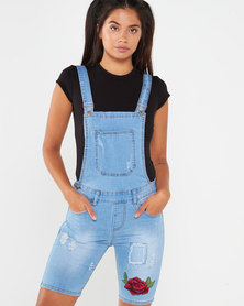 Utopia Denim Dungaree With Applique Light Wash