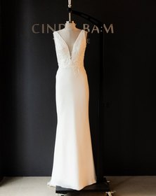 Cindy Bam Wide Strap Lace Wedding Gown Milk