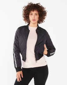 Soviet Ladies Quilted Bomber Black