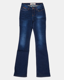 Soviet  Ladies Basic Bootleg Jeans Indigo