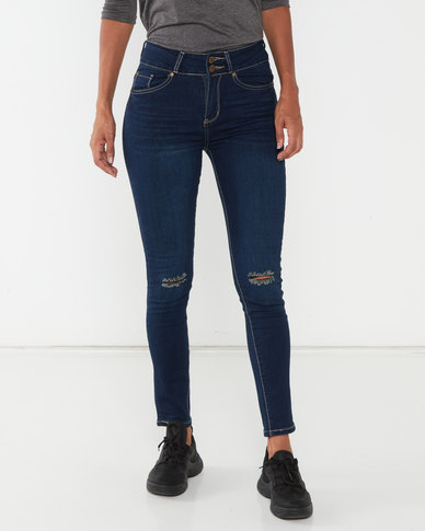 Soviet Ladies Dk Boot-I-Ful High Waisted Skinny Jeans Indigo