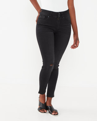 Soviet Ladies Boot-I-Ful High Waisted Skinny Jeans Black Indigo