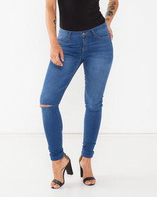 Soviet Ladies Skinny Jeans With Rips At Knee Blue