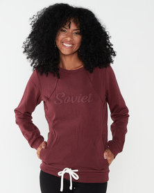 Soviet Ladies Pull Over Hooded Sweat Top Burgundy