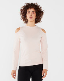 Soviet  Ladies Cold Shoulder Tee Blush