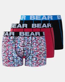 Bear 3Pk Amped Squares Bodyshorts Multi
