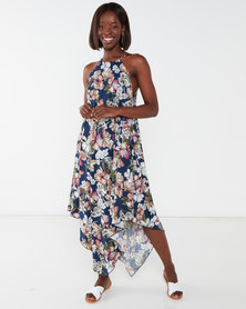 Utopia Floral Print Knit Tunic Dress Navy