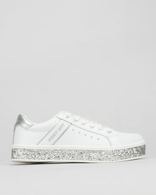 Sissy Boy Electra Sneaker With Glitter Sole/White