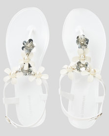 Queenspark Contrast Jelly Flower Ankle Strap Sandals White