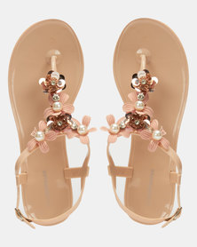 Queenspark Contrast Jelly Flower Ankle Strap Sandals Nude