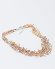 Queenspark Glitter And Crystal Necklace Gold