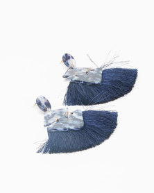 Queenspark Resin & Tassel Earrings Navy