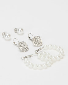 Queenspark Pearl & Diamante 3 Pack Earrings White