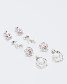 Queenspark 4 Pack Sparkly Earrings Silver