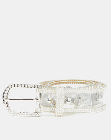 Queenspark Diamante & Eyelet Detail Jelly Belt Clear