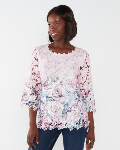 Queenspark Elizabeth Lace Knit Top Multi