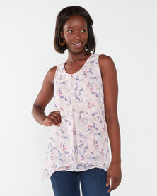 Queenspark Floral Design Sleeveless Woven Blouse Pink