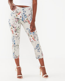 Queenspark Floral Printed Bengaline Tramline Trousers Stone