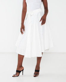 Queenspark  Milk Taffeta Woven Skirt Cream
