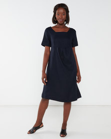 Queenspark Linen Blend Short Sleeve Tulip Woven Dress Navy