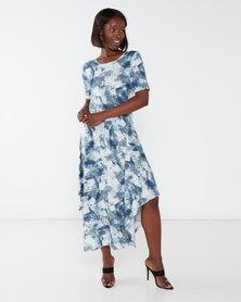 Queenspark Printed Crewneck Short Sleeve Knit Dress  Blue