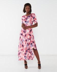 Queenspark Printed Crewneck Short Sleeve Knit Dress Pink