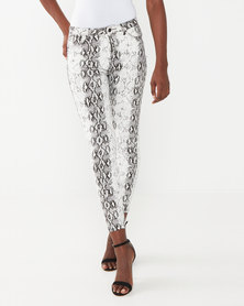 cath.nic By Queenspark Snake Print Woven Trousers Grey