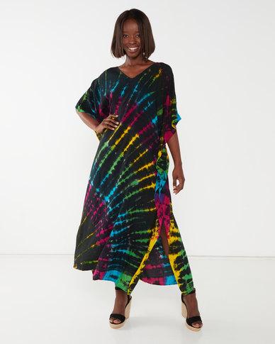 Allegoria  Tie Dye Print Kaftan Black Multi
