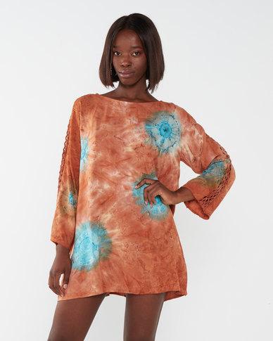 Allegoria Toe Dye with Handmade Chrystal Beadwork Dress Orange