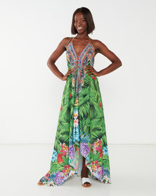 Allegoria Digital Print Maxi Dress Green