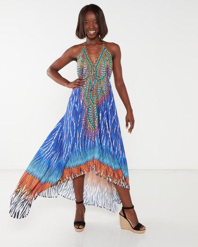 Allegoria  Digital Print Maxi Dress Blue