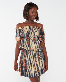 Allegoria Off Shoulder Tie Dye Print With Embroidery Dress Brown
