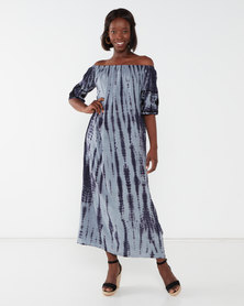 Allegoria Off Shoulder Tie Dye Print With Embroidery Dress Blue