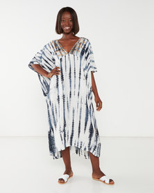 Allegoria Tie Dye Print With Embroidery Dress Blue