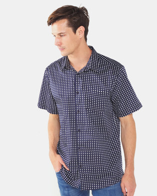 JCrew  Square Print Shirt Navy