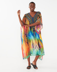 Queenspark Peacock Printed Longer Length Woven Kaftan Multi