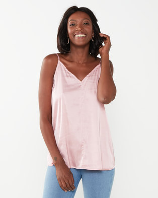 Miss Cassidy By Queenspark Pink Silk Touch Woven Camisole