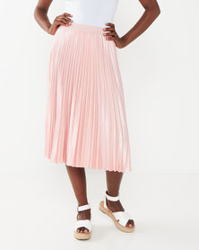 Miss Cassidy By Queenspark Pleated Satin Woven Skirt Soft Pink