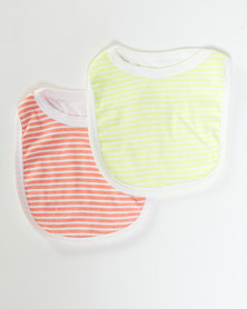 Camille Stripe 2PK Bib Yellow & Orange