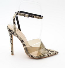 LaMara Paris Sofia vinyl snake-print faux-leather sandals beige