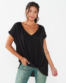 Utopia Pleat Front Knit Top Black