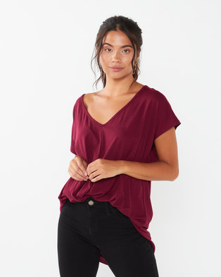 Utopia Pleat Front Knit Top Burgundy