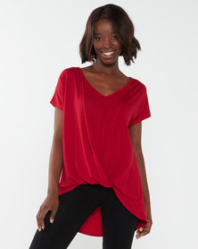 Utopia Pleat Front Knit Top Red